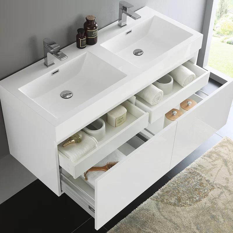 Mezzo 47 Wall Mounted Double Bathroom Vanity Set In 2020 Modern