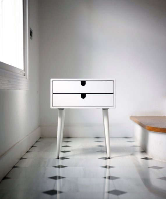 Best White Bedside Table Nightstand Mid Century Modern In Solid 400 x 300