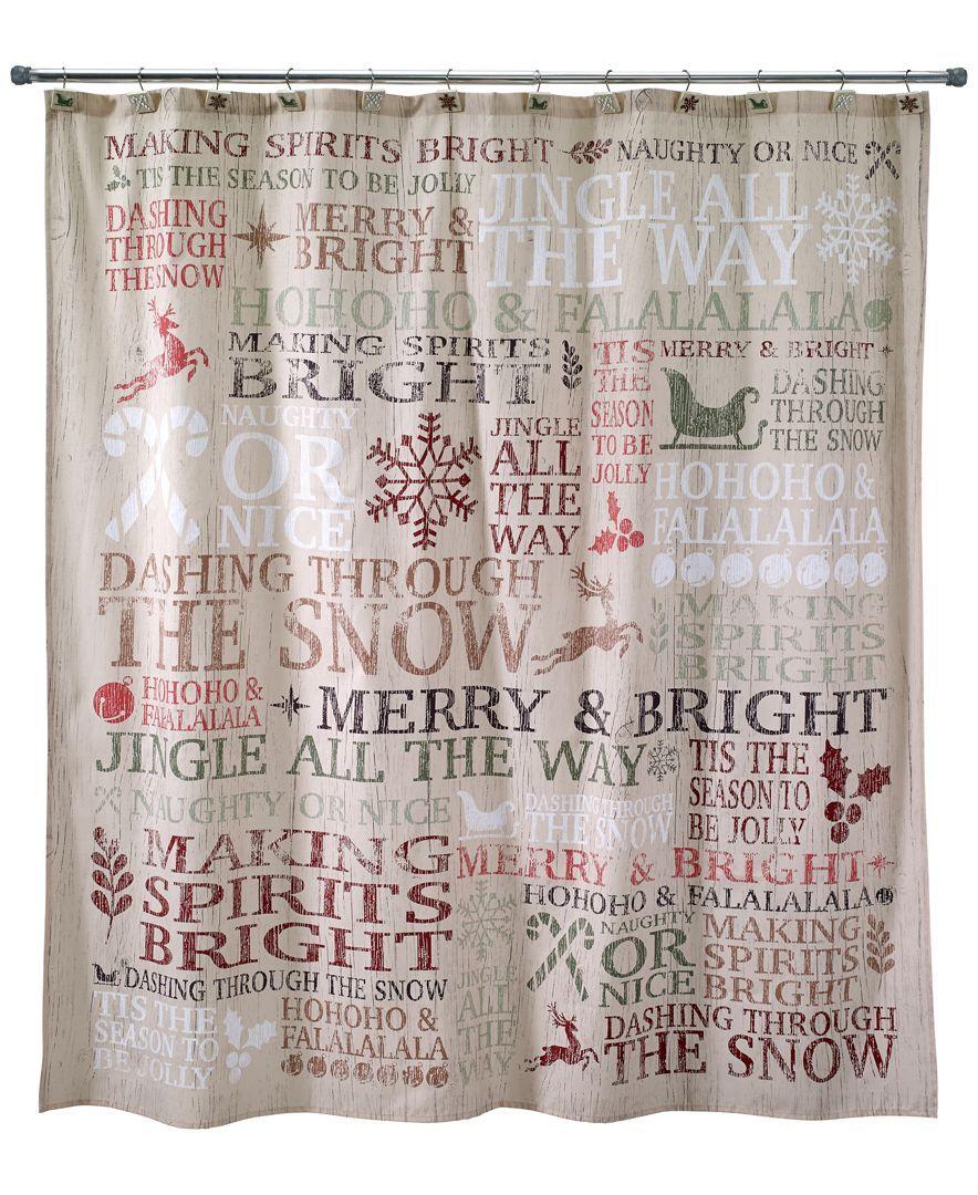 db5534ae2af Avanti Holiday Words Shower Curtain