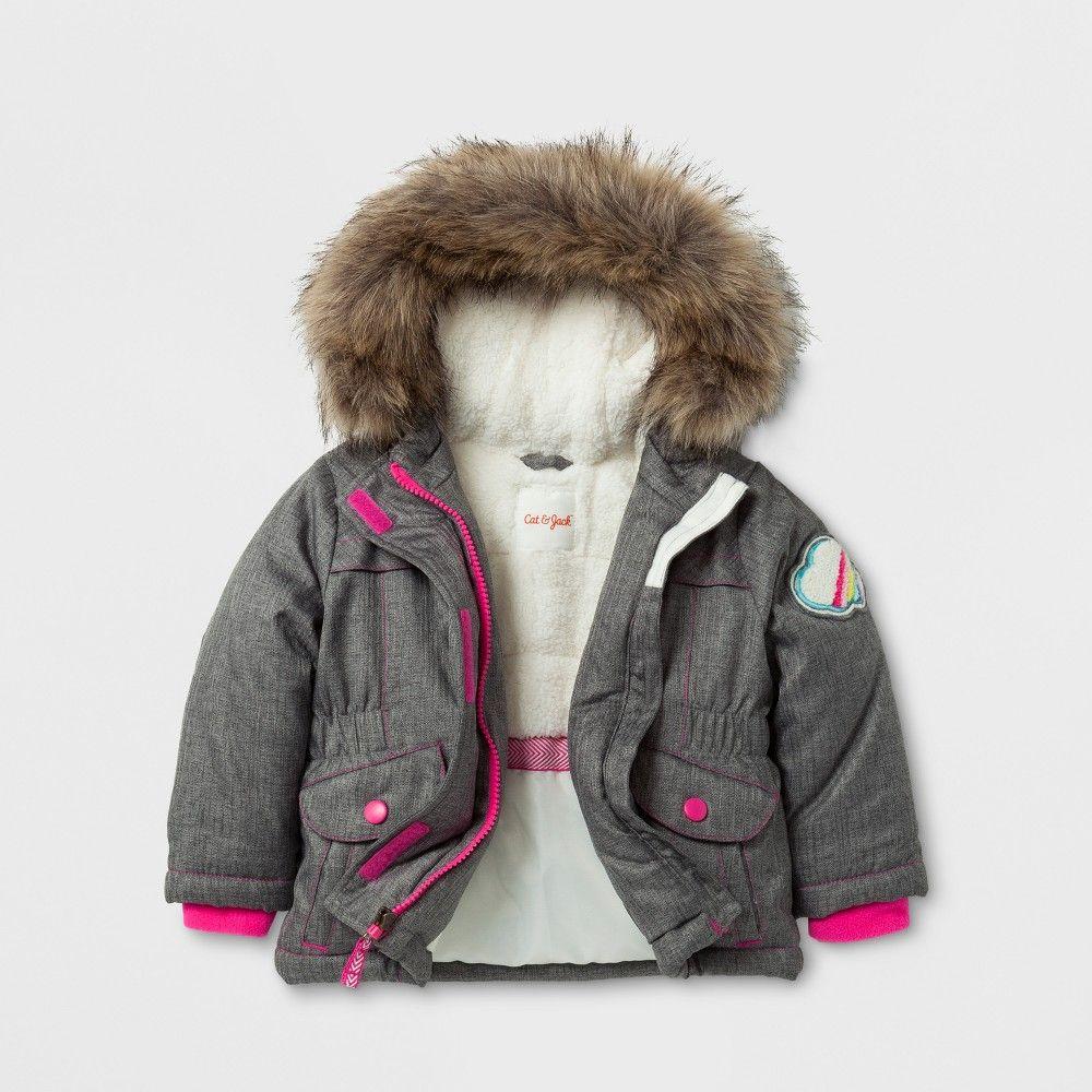 ad07edb8e Baby Girls' Parka Jacket with Sherpa Lining - Cat & Jack Gray 12M ...