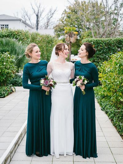Green Bridesmaid Dress With Long Sleeve Round Neck Modest 2017 Winter Pd21064