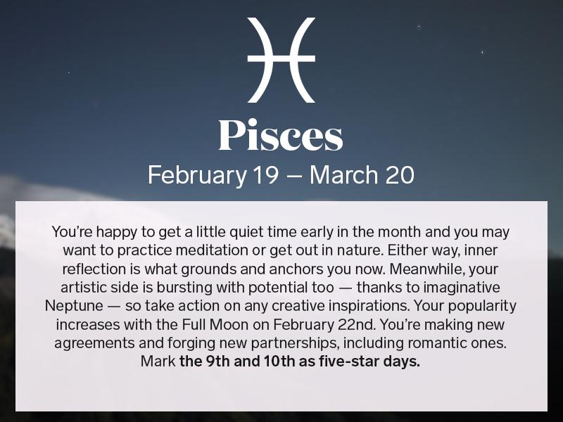 get your horoscope for february 2016 february 2016 horoscope horoscopes and pisces. Black Bedroom Furniture Sets. Home Design Ideas