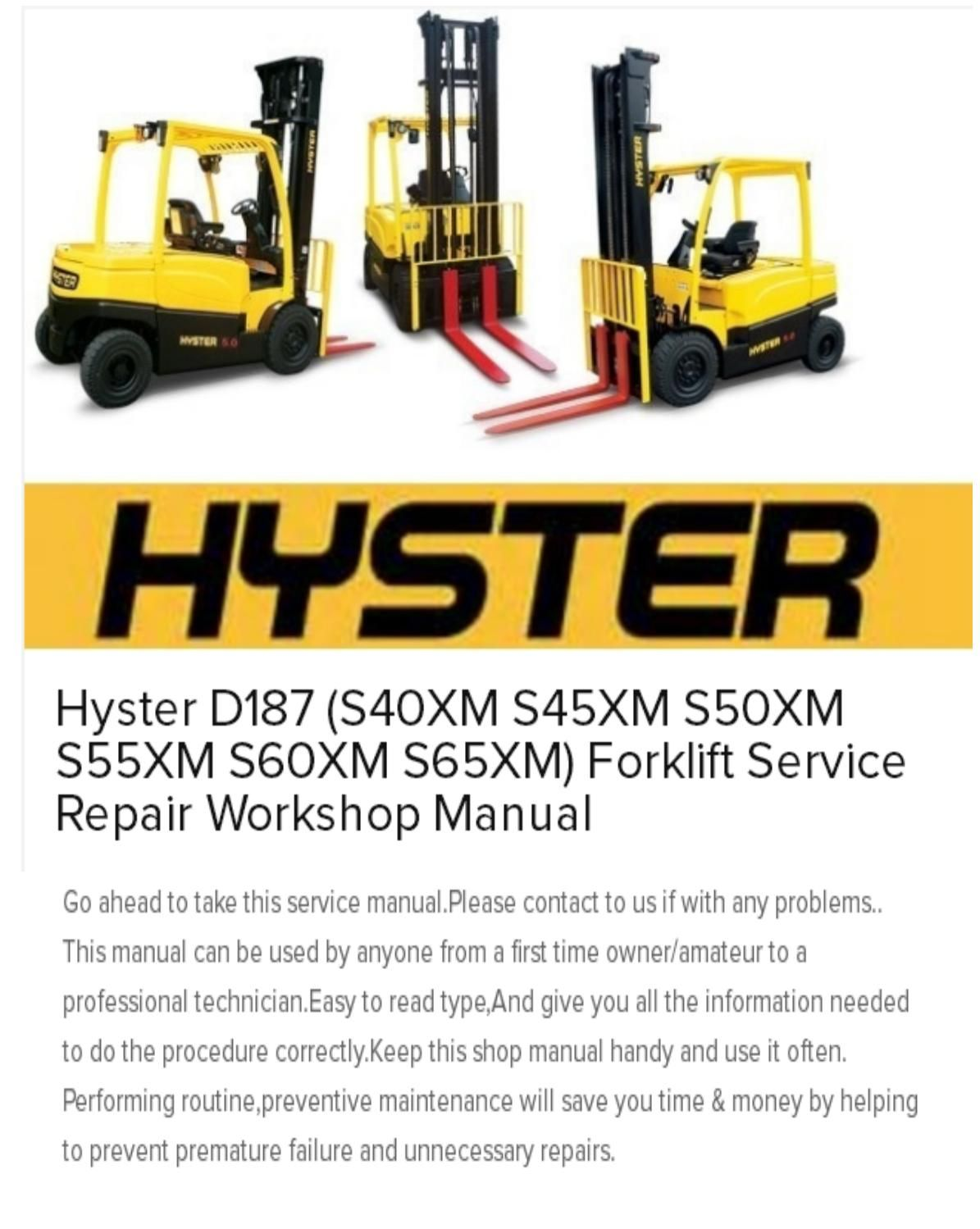 Wiring Diagram Hyster D187 Explained Diagrams Mcneilus Schematic S40xm S45xm S50xm S55xm S60xm S65xm Forklift Service