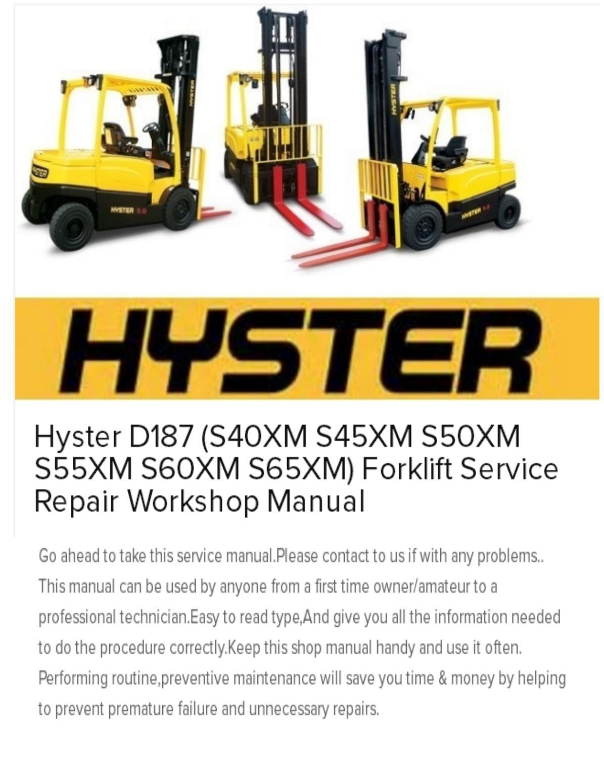 hyster s50xm forklift wiring diagram christianity vs islam venn d187 s40xm s45xm s55xm s60xm s65xm service repair workshop manual