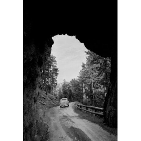 USA South Dakota tunnel through Black Hills at Mt Rushmore Canvas Art - (24 x 36)