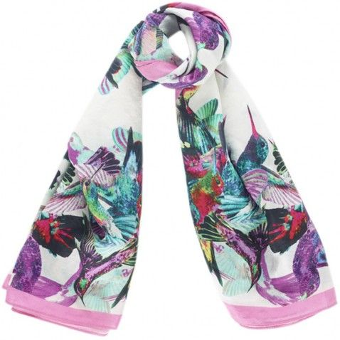 Hummingbirds silk scarf