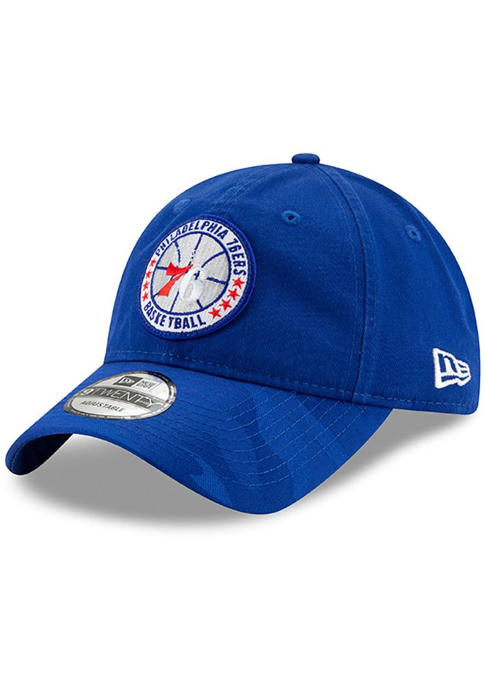 on sale 5f068 8f962 New Era Philadelphia 76ers Mens Blue 2018 Tip Off 9TWENTY Adjustable Hat,  Blue, COTTON
