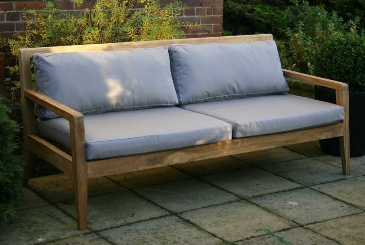 Menton Luxury Teak Sofa Bench With Chsions Outdoor Sofa Outdoor Furniture Sofa
