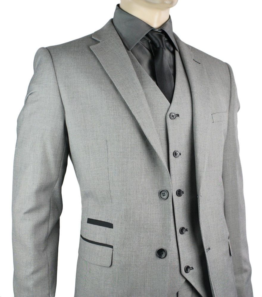 Mens Slim Fit Suit Grey Black Trim 3 Piece Work Office or Wedding ...