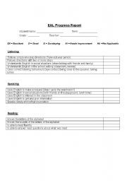 Esl Progress Report Elementary Progress Report Esl Vocabulary Worksheets
