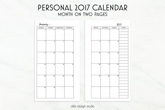 Monthly Personal Planner Inserts  Month On Two Pages