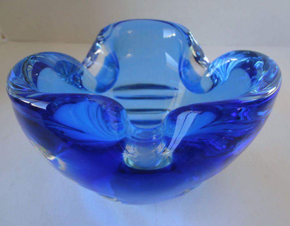 Details About Cobalt Blue Blown Art Glass Decorative Bowl Glass