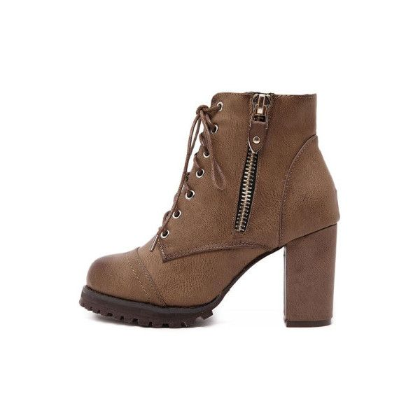 d5c006808e SheIn(sheinside) Brown Lace Up Side Zipper Chunky Heels Ankle Boots  featuring polyvore, women's fashion, shoes, boots, ankle booties, brown, platform  ankle ...