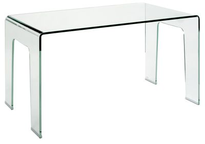 A single piece of clear tempered glass is bent into a stunning one