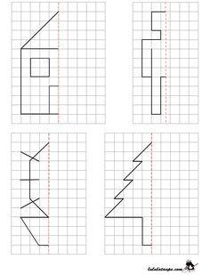 Reproduire un dessin par symétrie axiale sur quadrillage | Symétrie ce1, Axe de symétrie ...