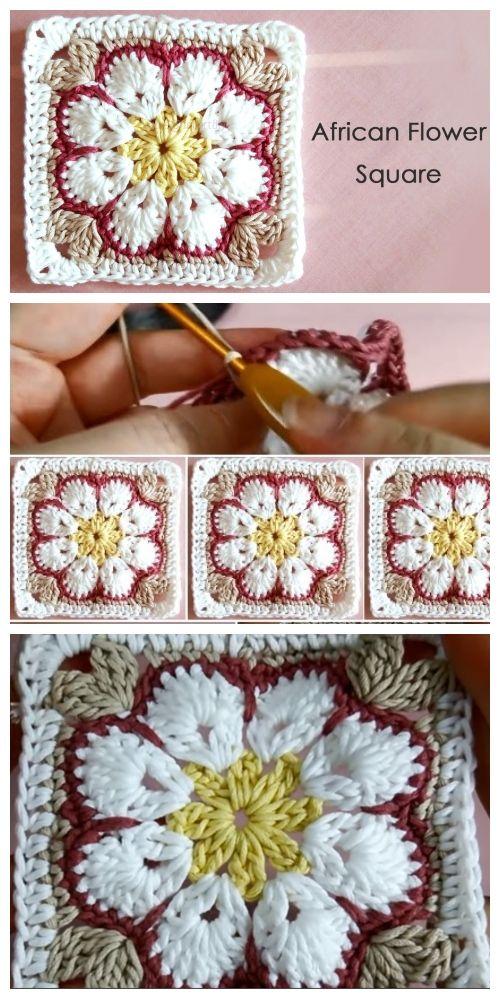 8-Petal African Flower Afghan Free Crochet Pattern - Video #grannysquares