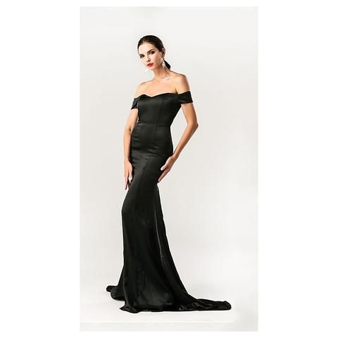 Black Off Shoulder Gown-Women - Apparel - Dresses - Evening-My MALL Metro