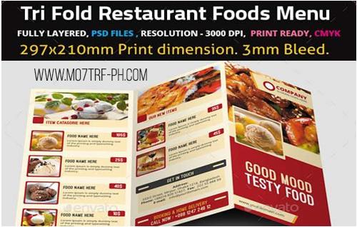 قائمة المطاعم Psd Restaurant Menu