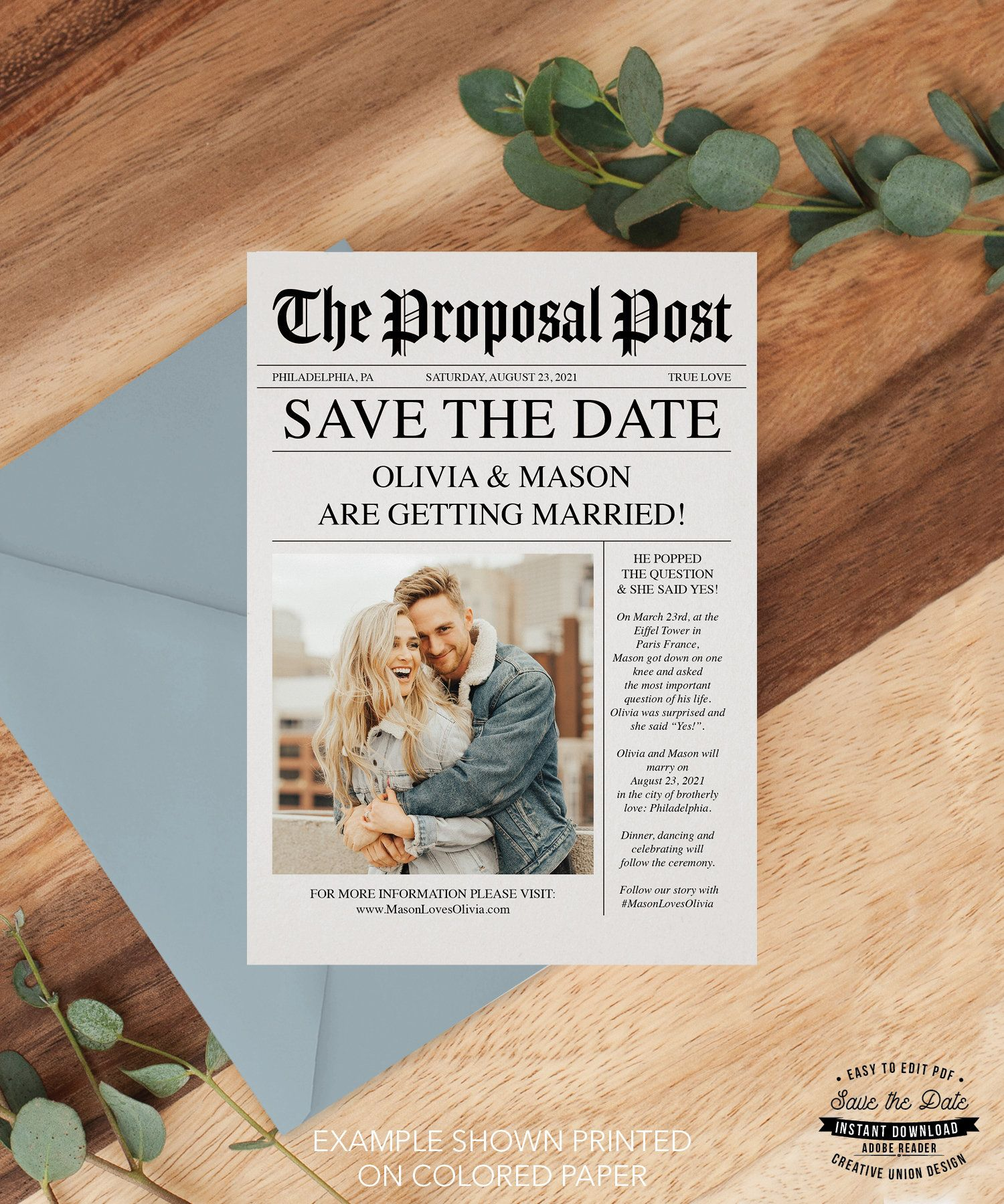 Newspaper Save The Date Template Save The Date With Photo Etsy Unique Save The Dates Save The Date Save The Date Templates