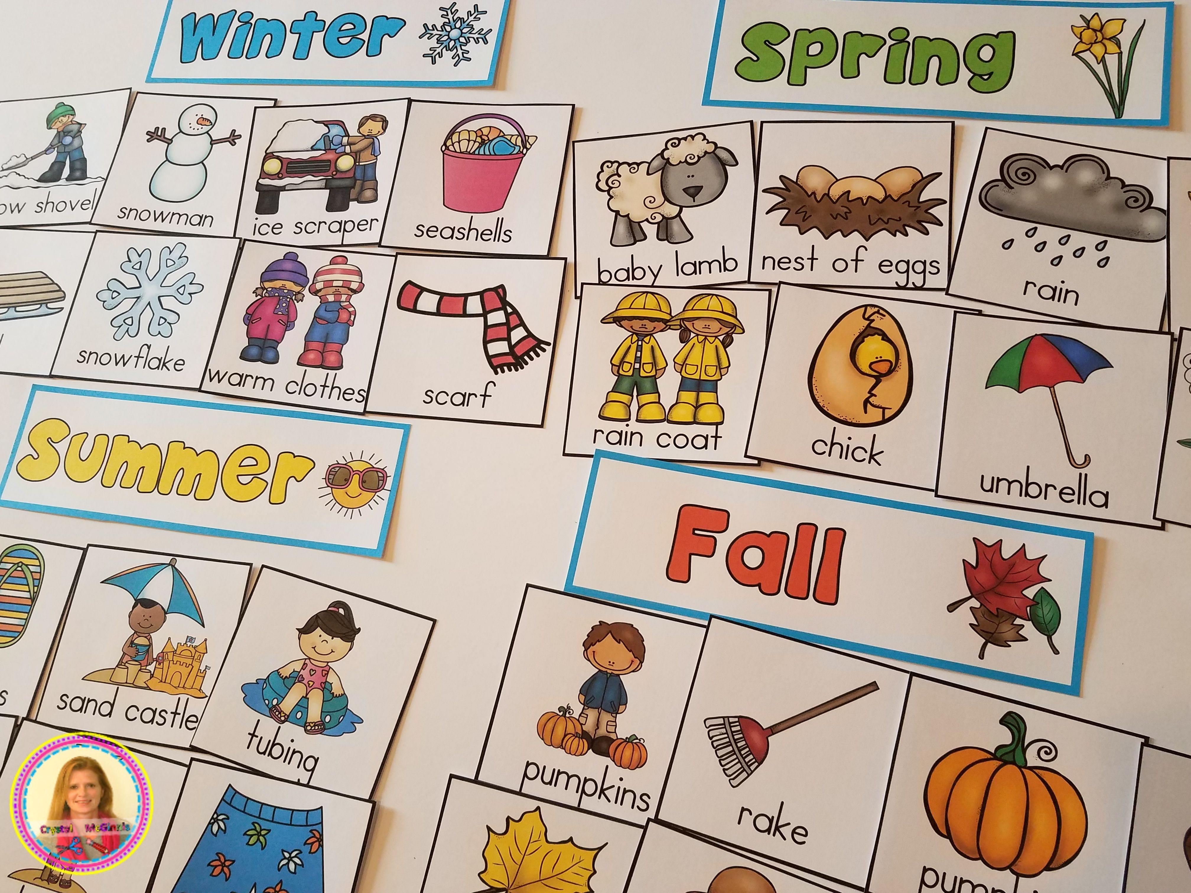 Dollar Deal Four Seasons Pocket Chart Sort Winter