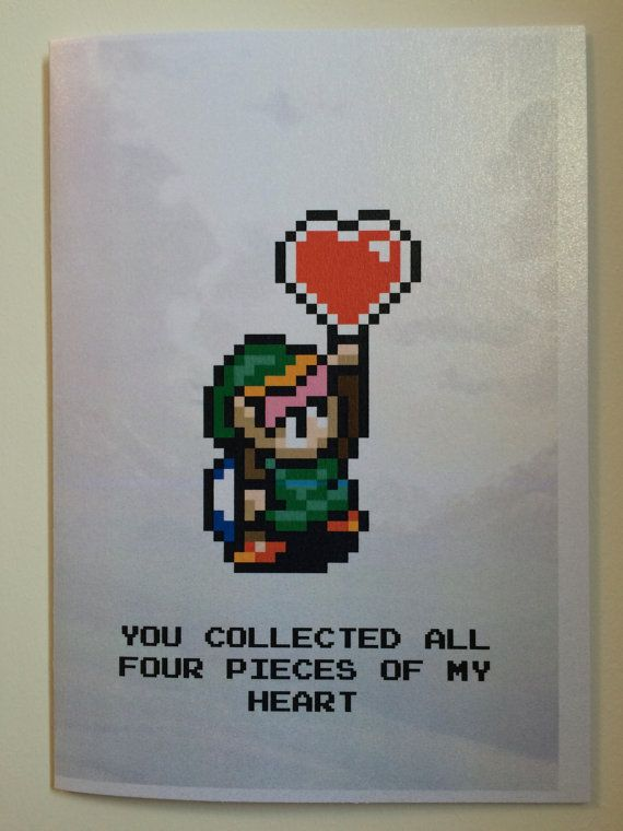 Legend Of Zelda 8bit Retro Link Birthday Card Design A Digital
