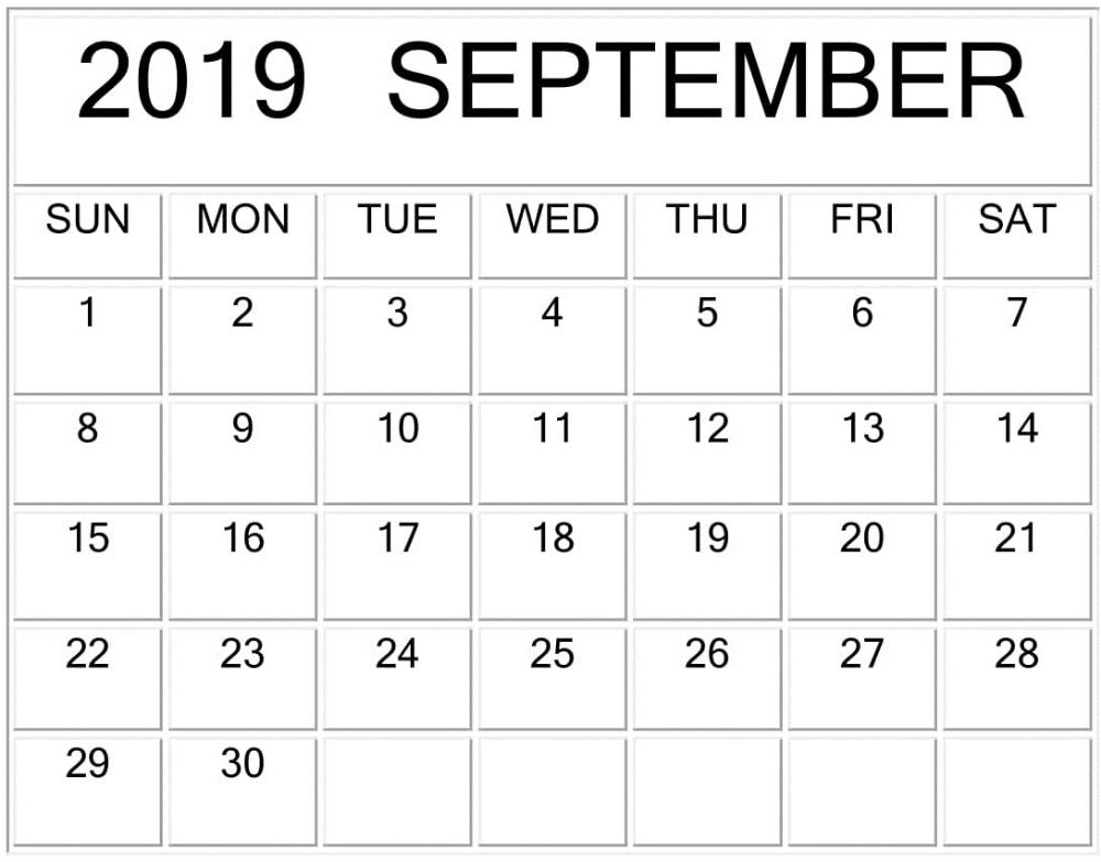 Printable September 2019 Monthly Pocket Calendar Monthly