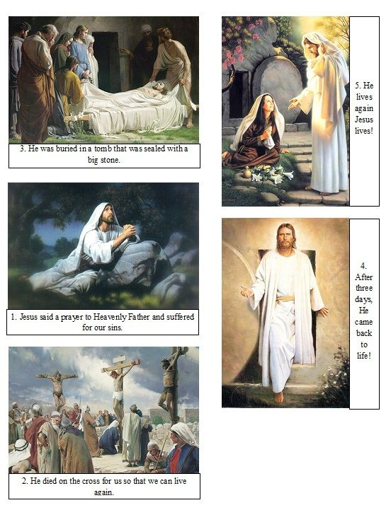 One pinner said: I printed these on photo paper, and cut them out, one set for each child. I also used this to teach the Easter lesson for nursery. They are numbered to help the kids put them in the right order.