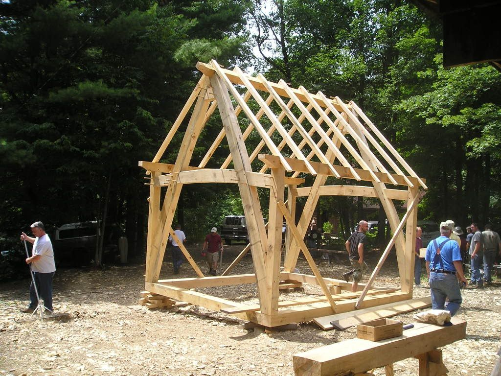12x16 timber frame barn google search shed pinterest for Cruck frame house plans
