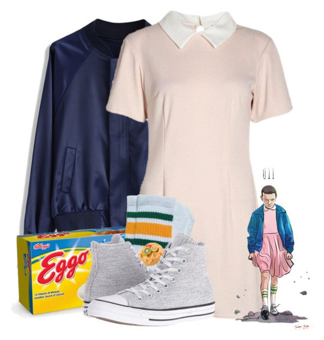 """Eleven-Stranger Things"" by emmamendes13 ❤ liked on Polyvore featuring Chicwish and Converse"