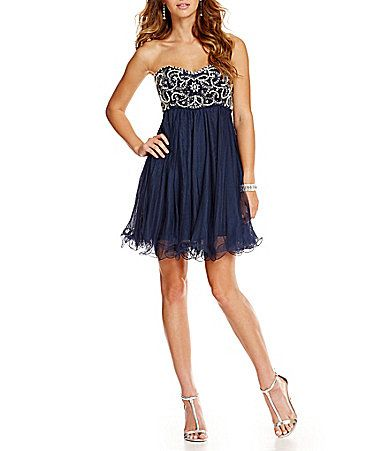 e07edeb734a Blondie Nites Swirl Beaded Party Dress  Dillards