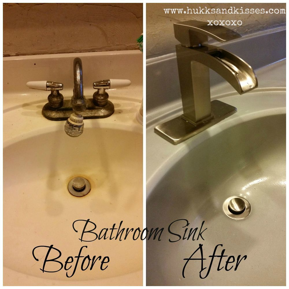 Spray Painted Bathroom Counter And Sink