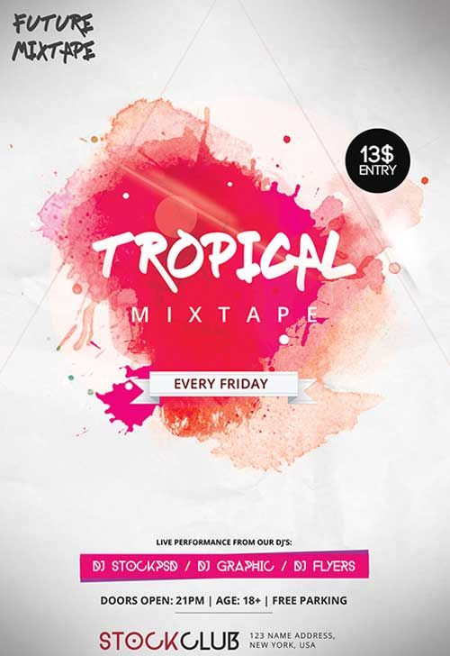 Tropical Mixtape Free Flyer Template -    freepsdflyer - grand opening flyer template
