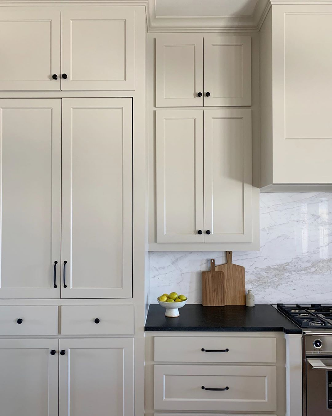 Brett Kara On Instagram We Re Here To Make The Case For Taupe Cabinets And Black Countertops Wan In 2020 Taupe Kitchen Cabinets Taupe Kitchen House Design Kitchen