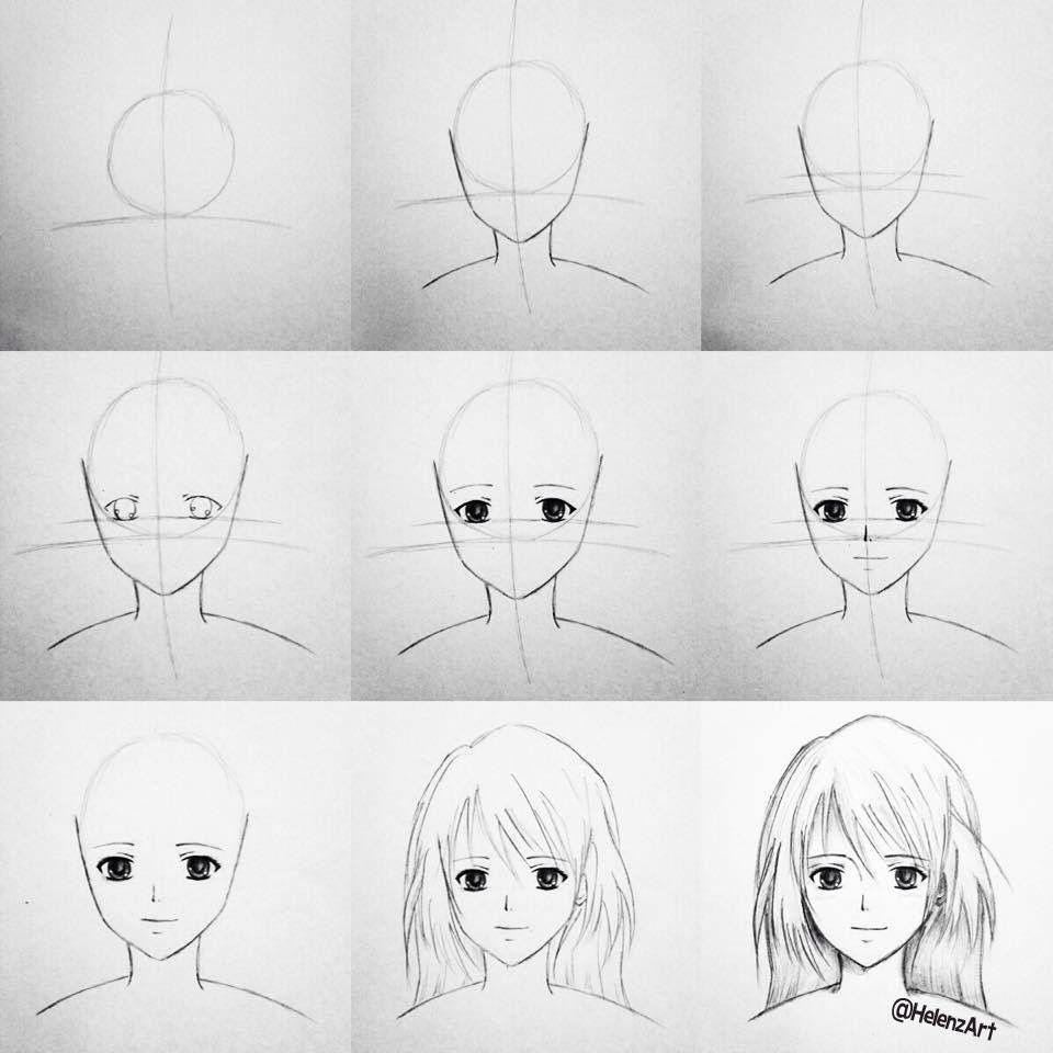 Step by step tutorial on how to draw an AnimeManga Girl  Drawing