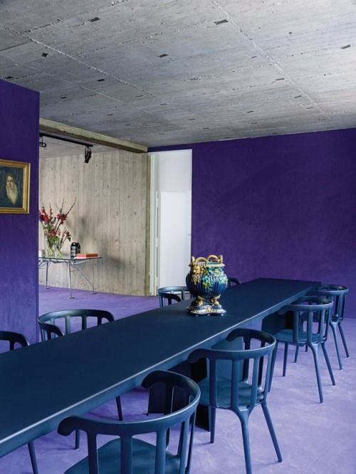 Soft Purple Carpet Extends Across The Floor And Up The Walls To Meet A Concrete Ceiling In The Brutalist Former Church Complex T Dining Room Design Design Home