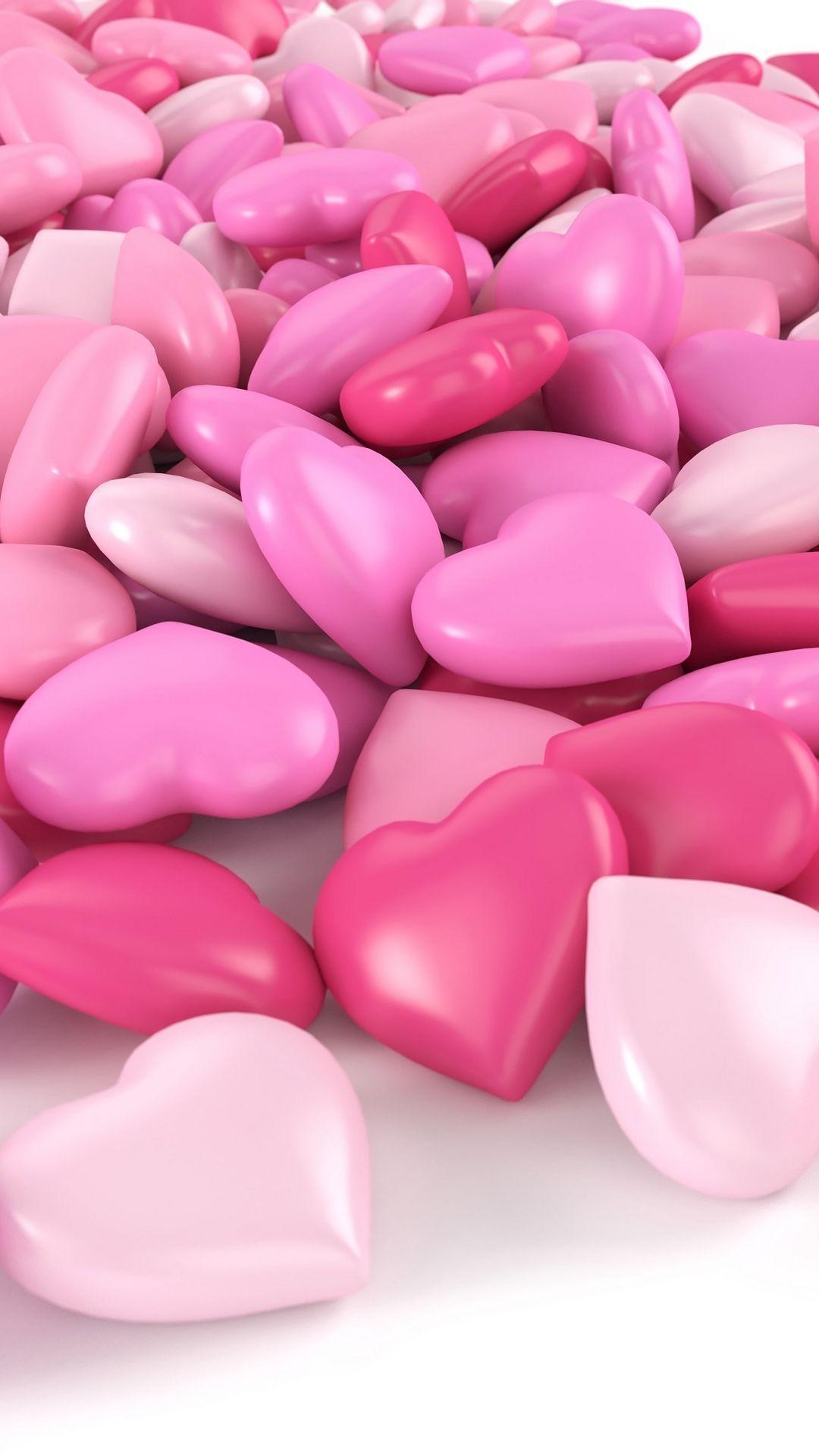 Pink Shape Heart 3d Wallpaper Lockscreen Mobile
