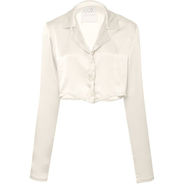 cad284baf AWAVEAWAKE Silk Button Down Top ($468) ❤ liked on Polyvore featuring tops,  white, crop tops, button down crop top, long sleeve tops, cut-out crop tops  and ...