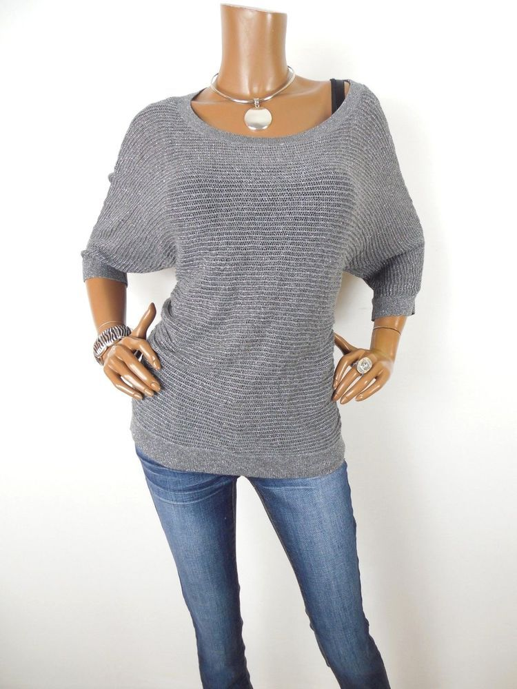 cc0871c54e EXPRESS Womens Top L SEXY Crochet Knit Sweater Sparkle Shirt Gray Silver  Casual  Express  Blouse  Casual