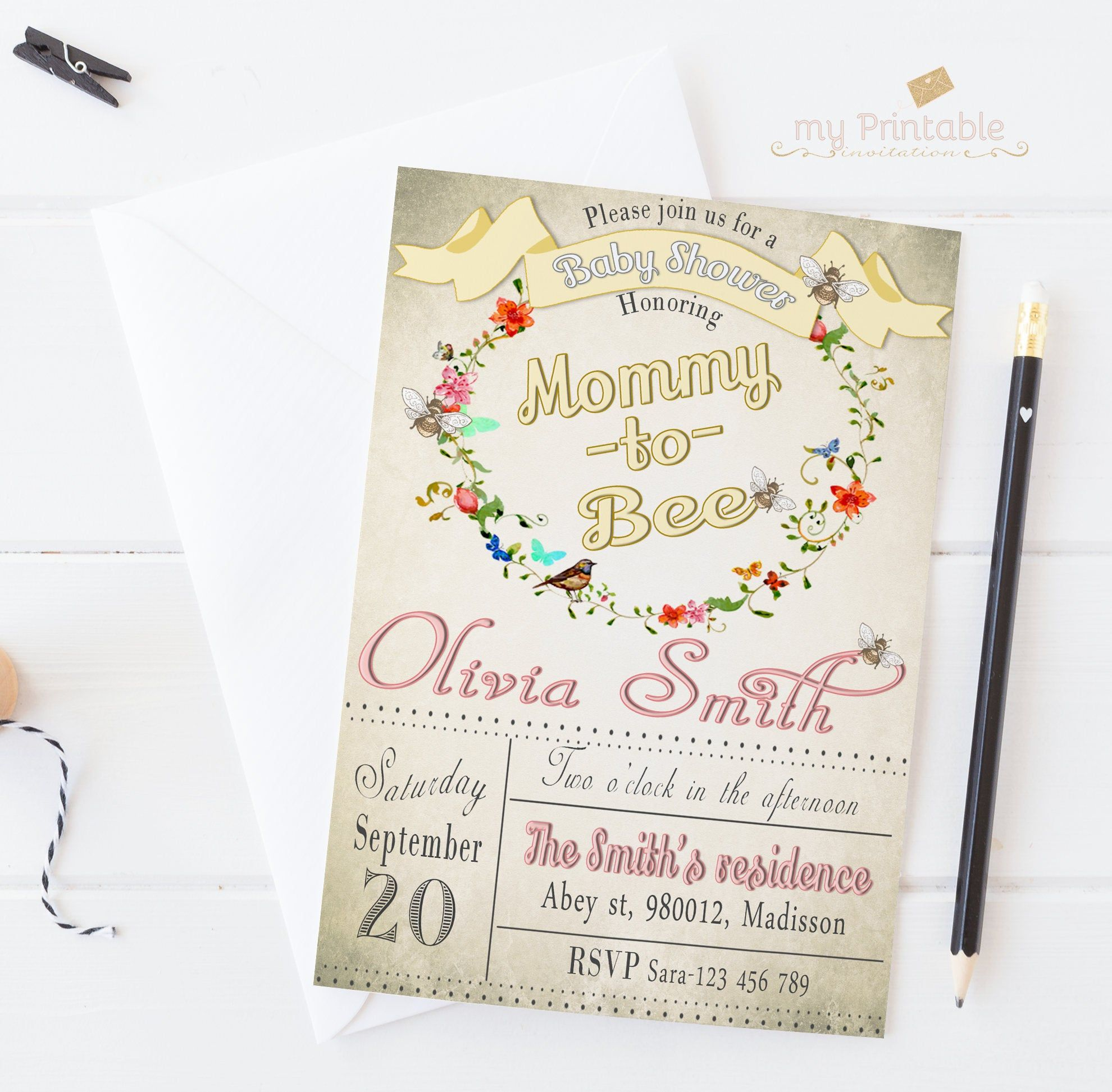 Sugar and Spice and Everything Nice Printable PDF invitation 5x7 double sided