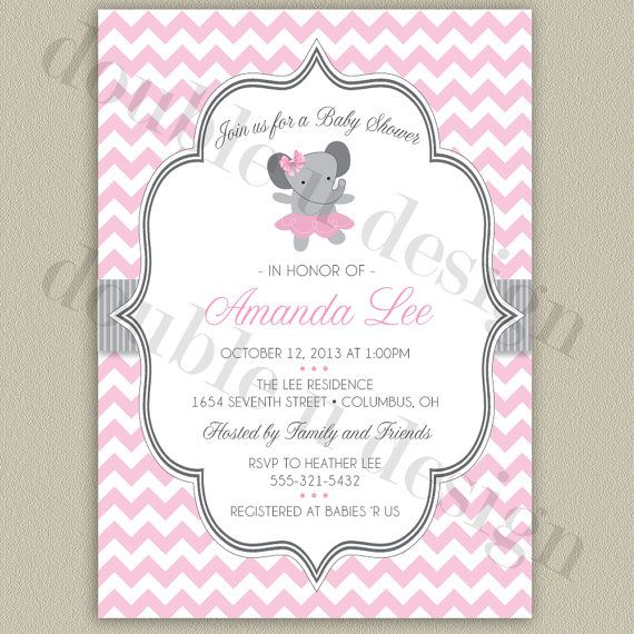 elephant ballerina baby shower invitation print your own digital file color options