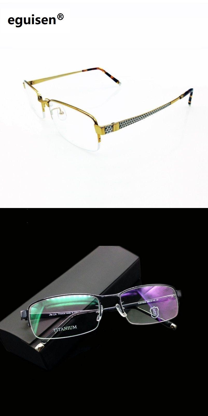 5006e130ddc width-140 Ultra light Titanium Men s business frame half frame 002 myopic  eyes Eyeglasses Frames