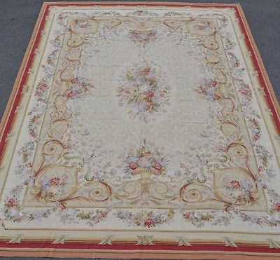 9'x12' Handmade Urn Flowers Roses French Aubusson Design Needlepoint Beige Rug