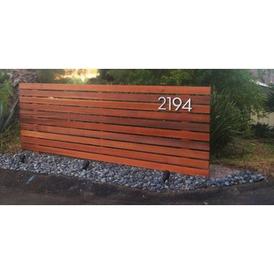 Modern Fencing Accent Wall With Address Wood Fence