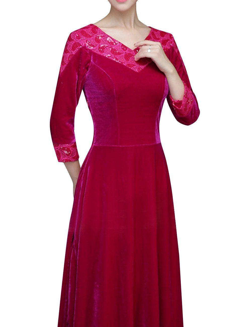 Judybridal women vneck sleeve velvet long formal evening dress