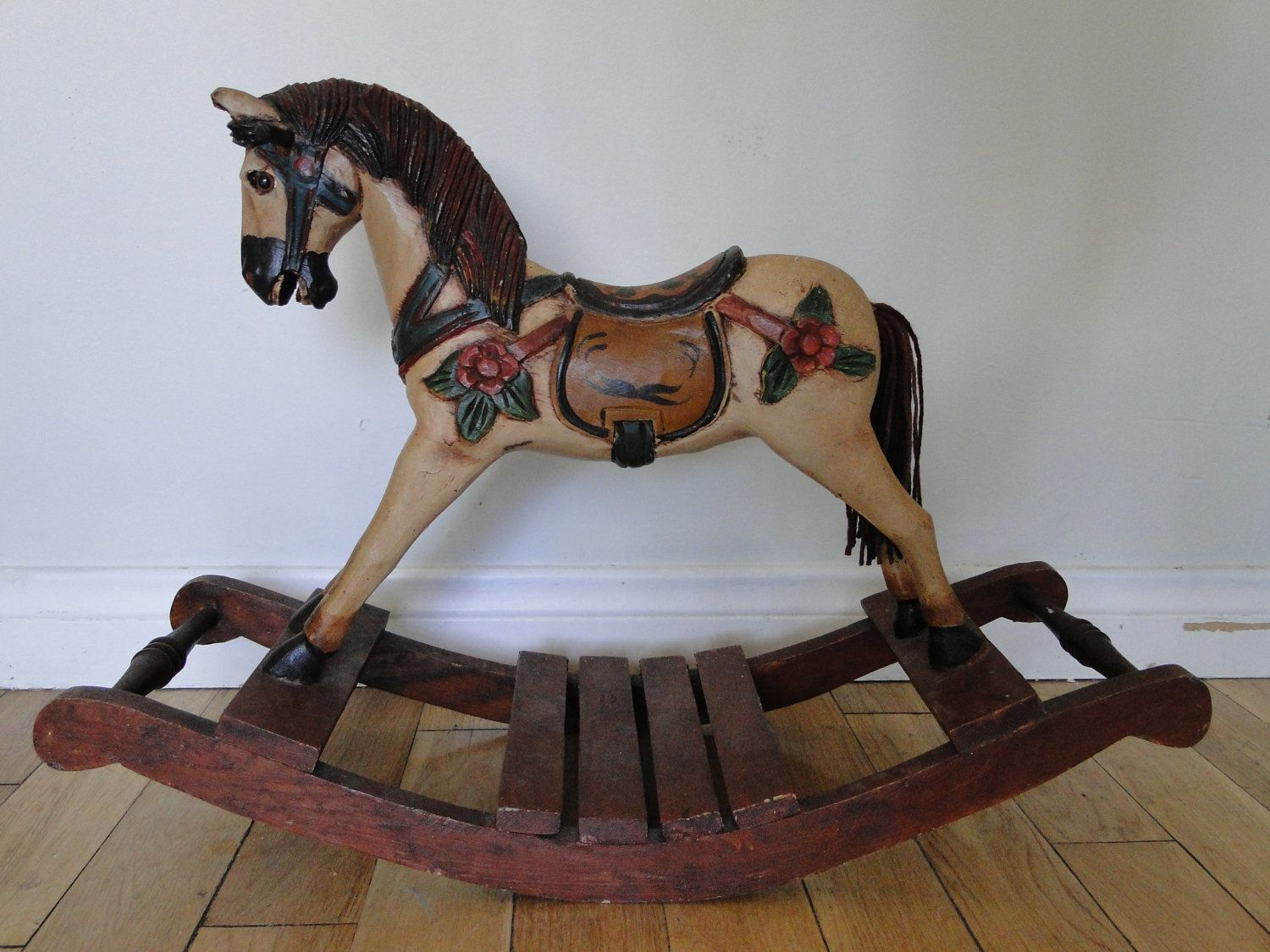 Vintage Hand Carved Wooden Rocking Horse Antique Rocking Horse Wooden Rocking Horse Rocking Horse