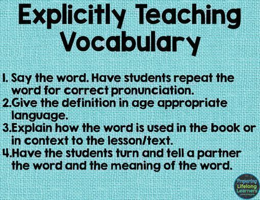 Blog post describing how to explicitly teach vocabulary  Great for
