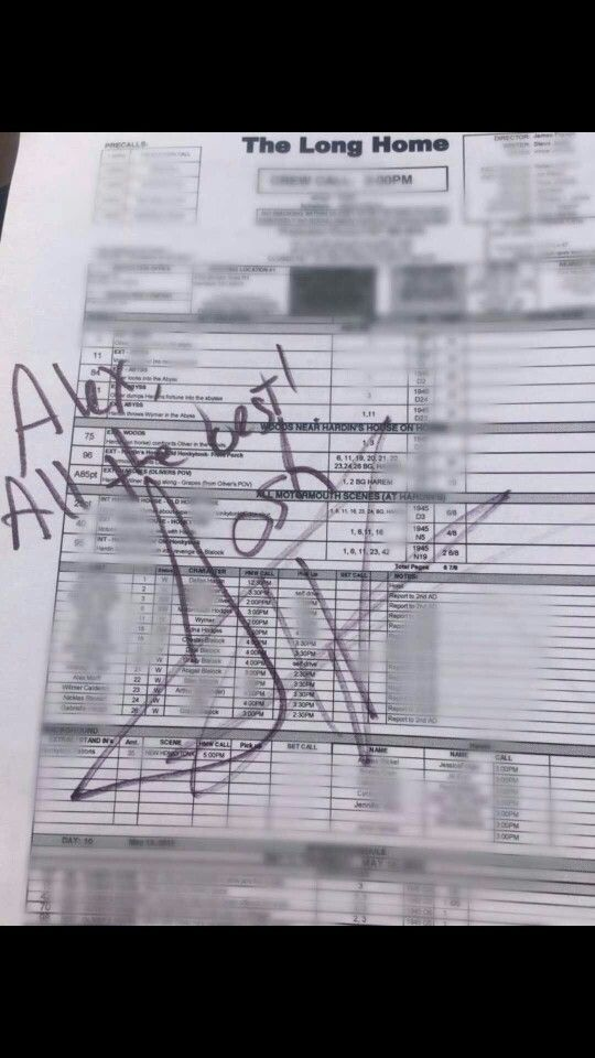 Josh's autograph on a call sheet