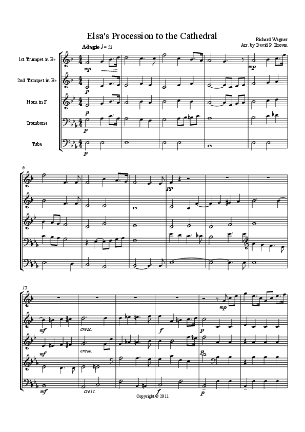 Elsa S Procession To The Cathedral For Brass Quintet Sheet Music Pdf Sheet Music Pdf Print Sheet Music Sheet Music