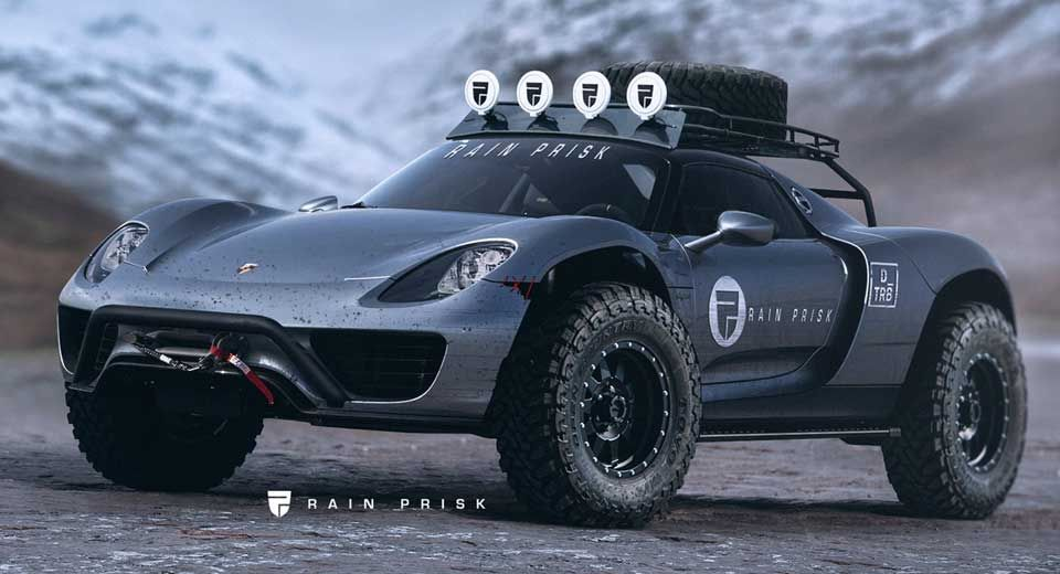 an off road porsche 918 spyder looks better than a cayenne