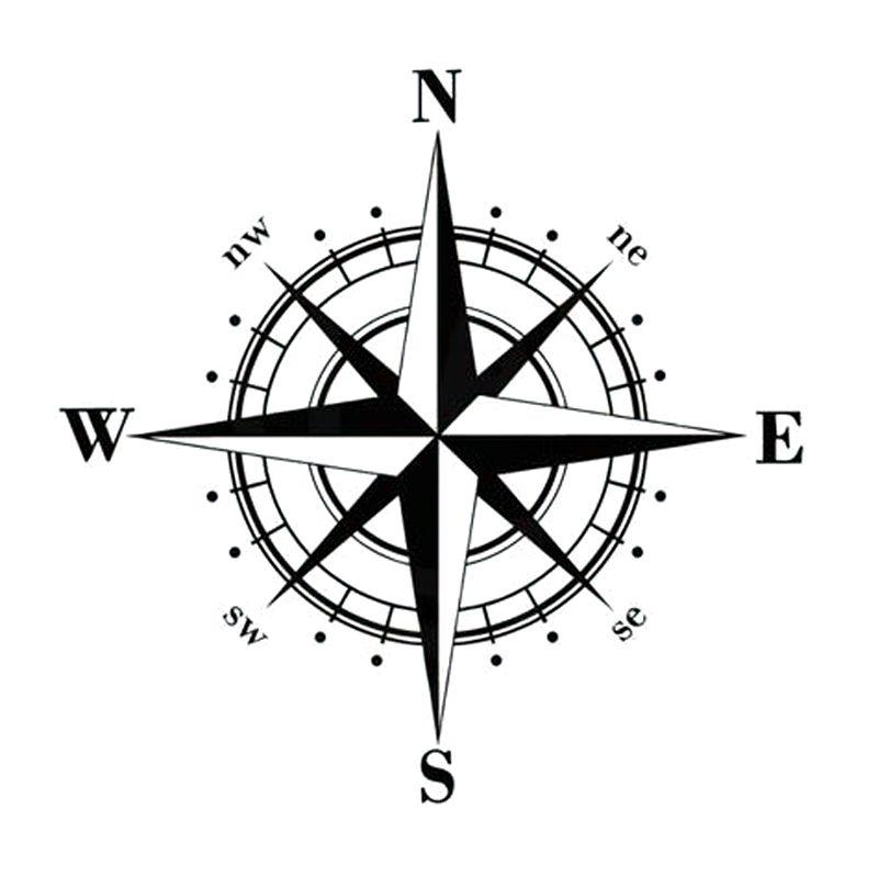 15*15CM Art Motif Vinyle NSWE Compass Boussole Stickers DIY Autocollant Decal